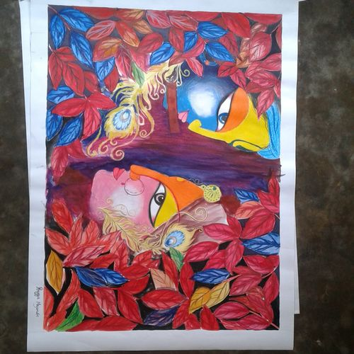 painting of lord  krishna & radha, 22 x 30 inch, shiuli majumder,22x30inch,cartridge paper,paintings,religious paintings,pastel color,GAL01355226472