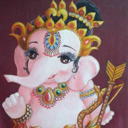 painting of god ganesha, 12 x 17 inch, shiuli majumder,12x17inch,canvas,paintings,ganesha paintings | lord ganesh paintings,oil color,GAL01355226474