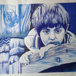 a sad boy, 22 x 30 inch, shiuli majumder,22x30inch,cartridge paper,paintings,abstract paintings,mixed media,GAL01355226476
