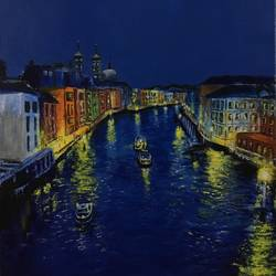 the night view of venice, italy, 24 x 18 inch, varun  n rao,24x18inch,canvas,paintings,cityscape paintings,landscape paintings,nature paintings | scenery paintings,impressionist paintings,paintings for dining room,paintings for bedroom,paintings for office,paintings for hotel,acrylic color,GAL0880926478