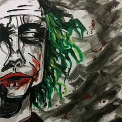joker, 9 x 12 inch, kinjal chowdhury,9x12inch,thick paper,paintings,portrait paintings,abstract expressionism paintings,art deco paintings,paintings for bedroom,paintings for kids room,acrylic color,GAL01565926479