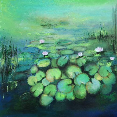 water lilies in the lake, 20 x 20 inch, amita dand,20x20inch,canvas,paintings,abstract paintings,flower paintings,nature paintings | scenery paintings,impressionist paintings,paintings for dining room,paintings for living room,paintings for bedroom,paintings for office,paintings for hotel,paintings for hospital,acrylic color,mixed media,pastel color,GAL0146726482