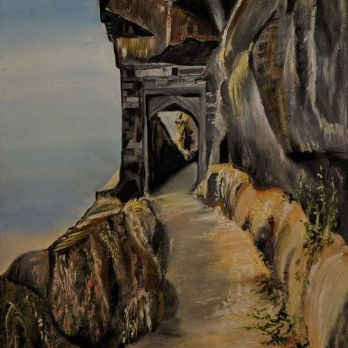fort torana, 15 x 19 inch, amruta andre,15x19inch,canvas,paintings,landscape paintings,conceptual paintings,nature paintings | scenery paintings,paintings for dining room,paintings for living room,paintings for office,paintings for hotel,paintings for school,oil color,GAL01288226487