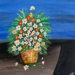 flower basket , 12 x 12 inch, gayathiri  guliani,12x12inch,canvas,paintings,flower paintings,paintings for dining room,paintings for living room,paintings for bedroom,paintings for office,paintings for bathroom,paintings for kids room,paintings for hotel,paintings for kitchen,paintings for school,paintings for hospital,acrylic color,GAL01450226492
