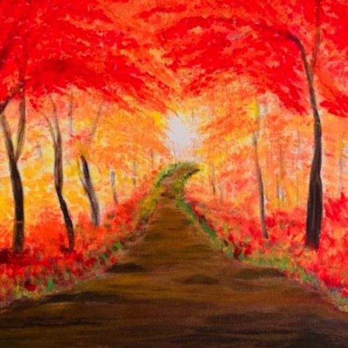 autumn forest , 10 x 14 inch, gayathiri  guliani,10x14inch,canvas,paintings,nature paintings | scenery paintings,paintings for dining room,paintings for living room,paintings for bedroom,paintings for office,paintings for bathroom,paintings for kids room,paintings for hotel,paintings for kitchen,paintings for school,paintings for hospital,acrylic color,GAL01450226494