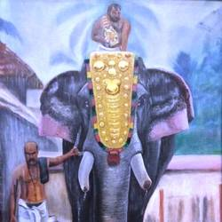 elephant , 50 x 60 inch, girish  s,50x60inch,canvas,paintings,religious paintings,animal paintings,elephant paintings,oil color,GAL01444526498