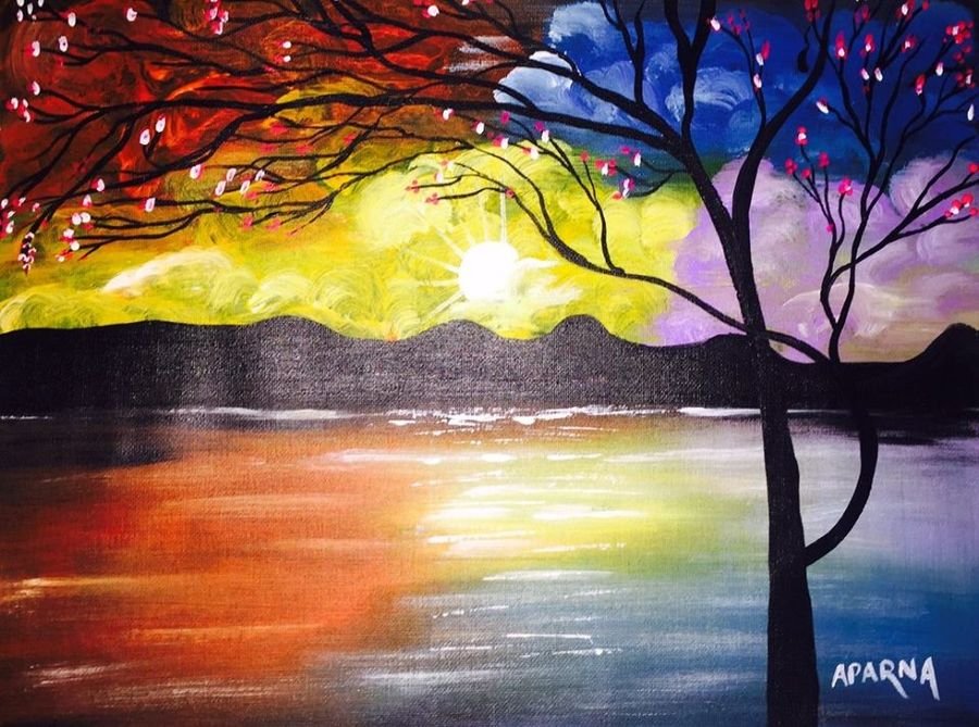 reflection 2, 12 x 16 inch, aparna warade,landscape paintings,paintings for living room,nature paintings,paintings for office,canvas,acrylic color,12x16inch,GAL089265Nature,environment,Beauty,scenery,greenery