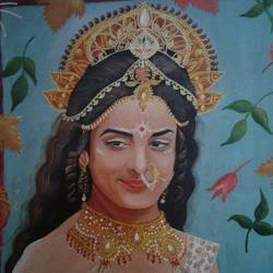 painting of durga, 19 x 24 inch, shiuli majumder,19x24inch,canvas,paintings,religious paintings,portrait paintings,oil color,GAL01355226506
