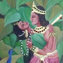 radha krishna, 12 x 18 inch, nirupma  misra,12x18inch,canvas,figurative paintings,folk art paintings,foil paintings,religious paintings,nature paintings | scenery paintings,tanjore paintings,radha krishna paintings,love paintings,paintings for dining room,paintings for living room,paintings for bedroom,paintings for hotel,paintings for dining room,paintings for living room,paintings for bedroom,paintings for hotel,ceramic,mixed media,oil color,GAL01508126509,krishna,Lord krishna,krushna,radha krushna,flute,peacock feather,melody,peace,religious,god,love,romance