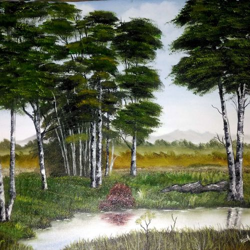 tree painting, 19 x 14 inch, anandi m,19x14inch,canvas,paintings,landscape paintings,nature paintings | scenery paintings,paintings for dining room,paintings for living room,paintings for bedroom,paintings for office,paintings for bathroom,paintings for kids room,paintings for hotel,paintings for kitchen,paintings for school,paintings for hospital,oil color,GAL0307726512