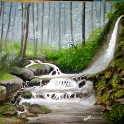 water fall painting, 19 x 15 inch, anandi m,19x15inch,canvas,paintings,landscape paintings,paintings for dining room,paintings for living room,paintings for bedroom,paintings for office,paintings for bathroom,paintings for kids room,paintings for hotel,paintings for school,paintings for hospital,oil color,GAL0307726513