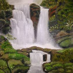 water fall painting, 12 x 16 inch, anandi m,12x16inch,canvas,paintings,landscape paintings,paintings for dining room,paintings for living room,paintings for bedroom,paintings for office,paintings for bathroom,paintings for kids room,paintings for hotel,paintings for kitchen,paintings for school,paintings for hospital,oil color,GAL0307726514