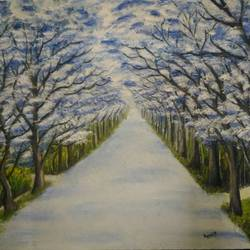 blue tree paintings, 16 x 12 inch, anandi m,16x12inch,canvas,paintings,landscape paintings,nature paintings | scenery paintings,paintings for dining room,paintings for living room,paintings for bedroom,paintings for office,paintings for bathroom,paintings for kids room,paintings for hotel,paintings for kitchen,paintings for school,paintings for hospital,oil color,GAL0307726515