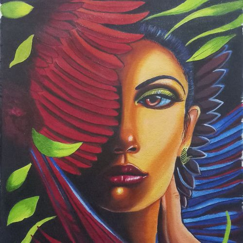beautiful feathered lady, 16 x 20 inch, sandhya kumari,16x20inch,canvas,paintings,figurative paintings,flower paintings,portrait paintings,nature paintings | scenery paintings,paintings for dining room,paintings for living room,paintings for bedroom,paintings for office,paintings for kids room,paintings for hotel,paintings for kitchen,paintings for school,paintings for hospital,acrylic color,GAL0365926520