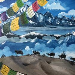 prayer flags, 18 x 14 inch, nidhi choudhari,18x14inch,canvas,paintings,nature paintings | scenery paintings,acrylic color,GAL01583526522
