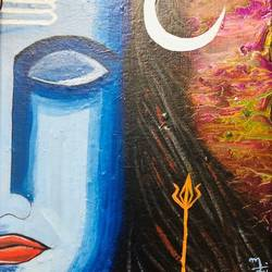 meditating shiva, 9 x 11 inch, nidhi choudhari,9x11inch,canvas,paintings,religious paintings,paintings for living room,paintings for hotel,acrylic color,GAL01583526523