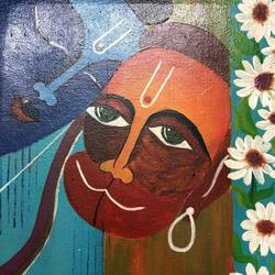 devotion, 16 x 14 inch, nidhi choudhari,16x14inch,canvas,paintings,abstract paintings,religious paintings,paintings for dining room,paintings for living room,paintings for office,paintings for hotel,paintings for hospital,acrylic color,GAL01583526526