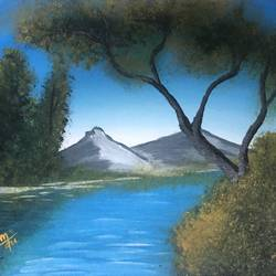 surreal mountain lake, 10 x 8 inch, nidhi choudhari,10x8inch,canvas,paintings,nature paintings | scenery paintings,surrealism paintings,paintings for dining room,paintings for living room,paintings for office,paintings for hotel,paintings for hospital,acrylic color,GAL01583526531