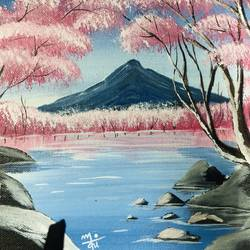 cherry blossom , 10 x 8 inch, nidhi choudhari,10x8inch,canvas,paintings,nature paintings | scenery paintings,surrealism paintings,paintings for dining room,paintings for living room,paintings for bedroom,paintings for office,paintings for hotel,paintings for hospital,acrylic color,GAL01583526532