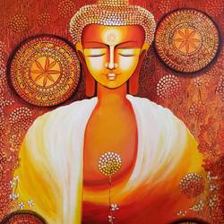 buddha - a journey towards enlightenment series:2, 30 x 40 inch, nitu chhajer,30x40inch,canvas,paintings,religious paintings,acrylic color,GAL058226536