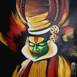 kathakali, 50 x 70 inch, silpa ajith,50x70inch,canvas,paintings,figurative paintings,paintings for dining room,paintings for living room,paintings for bedroom,paintings for office,paintings for hotel,paintings for school,acrylic color,GAL01584626547