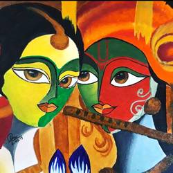 radha krishna, 10 x 12 inch, gurinder kaur  nayyar,10x12inch,canvas,radha krishna paintings,paintings for dining room,paintings for dining room,acrylic color,GAL01585026548