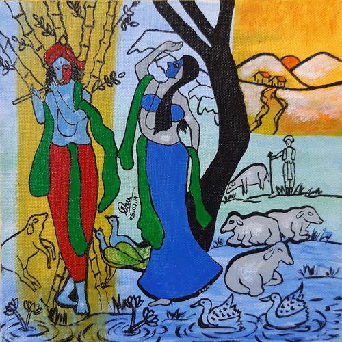 radha krishna, 8 x 8 inch, gurinder kaur  nayyar,8x8inch,canvas,religious paintings,radha krishna paintings,acrylic color,GAL01585026558,krishna,Lord krishna,krushna,radha krushna,flute,peacock feather,melody,peace,religious,god,love,romance