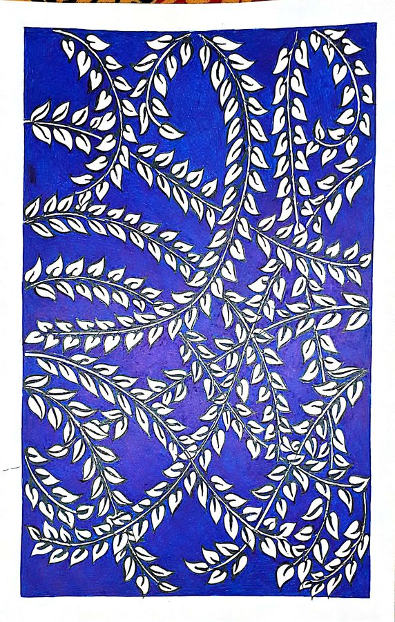 white leaves, 8 x 12 inch, sailaja  balgeri,8x12inch,thick paper,drawings,conceptual drawings,paintings for dining room,ink color,GAL01586226559