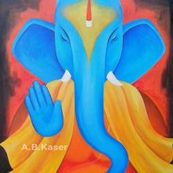 shri ganesh, 28 x 32 inch, a.b.  kaser,ganesha paintings,paintings for living room,religious paintings,paintings for office,canvas,acrylic color,28x32inch,GAL06362656,vinayak,ekadanta,ganpati,lambodar,peace,devotion,religious,lord ganesha,lordganpati,ganpati bappa morya,ganesh chaturthi,ganesh murti,elephant god,religious,lord ganesh,ganesha,om,hindu god,shiv parvati, putra,bhakti,blessings,aashirwad,pooja,puja,aarti,ekdant,vakratunda,lambodara,bhalchandra,gajanan,vinayak,prathamesh,vignesh,heramba,siddhivinayak,mahaganpati,omkar,mushak,mouse,ladoo,modak