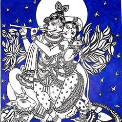 radha krishna , 8 x 12 inch, sailaja  balgeri,8x12inch,thick paper,drawings,conceptual drawings,paintings for living room,paintings for bedroom,ink color,GAL01586226562