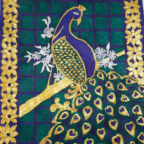 golden peacock, 8 x 12 inch, sailaja  balgeri,8x12inch,thick paper,drawings,conceptual drawings,paintings for living room,paintings for kids room,paintings for hotel,ink color,GAL01586226563