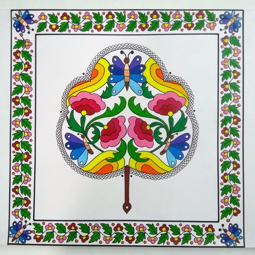 hand fan, 12 x 12 inch, geeta kwatra,12x12inch,drawing paper,paintings,abstract paintings,art deco paintings,paintings for dining room,paintings for living room,paintings for office,paintings for hotel,mixed media,GAL0899126565