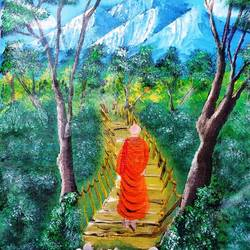 monk in forest, 14 x 18 inch, nidhi choudhari,14x18inch,canvas,paintings,abstract paintings,religious paintings,nature paintings | scenery paintings,surrealism paintings,paintings for living room,paintings for office,paintings for hotel,paintings for hospital,acrylic color,GAL01583526570