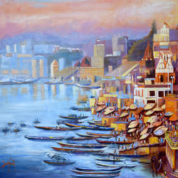 varanasi ghat, 30 x 20 inch, debojyoti boruah,30x20inch,canvas,paintings,cityscape paintings,landscape paintings,religious paintings,nature paintings | scenery paintings,expressionism paintings,realism paintings,street art,realistic paintings,paintings for dining room,paintings for living room,paintings for bedroom,paintings for office,paintings for kids room,paintings for hotel,paintings for kitchen,paintings for school,paintings for hospital,acrylic color,GAL01261426575