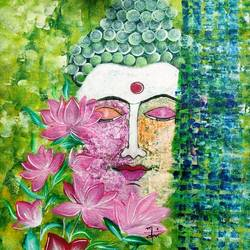 buddha with lotuses, 14 x 18 inch, nidhi choudhari,14x18inch,canvas,paintings,abstract paintings,buddha paintings,religious paintings,paintings for living room,paintings for office,paintings for hotel,paintings for hospital,acrylic color,GAL01583526576