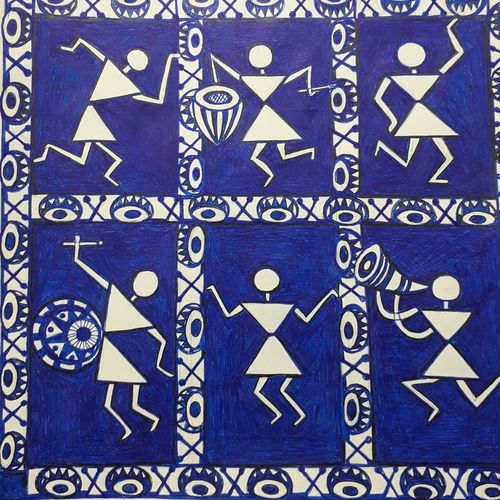 warli art - music life, 8 x 12 inch, sailaja  balgeri,8x12inch,thick paper,drawings,figurative drawings,paintings for dining room,paintings for living room,paintings for kids room,paintings for hotel,ink color,GAL01586226591