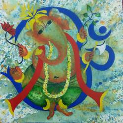 ganesh, 12 x 12 inch, deepa kadam,12x12inch,canvas,paintings,religious paintings,paintings for living room,acrylic color,GAL01580026593