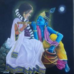 radha krishna, 12 x 12 inch, deepa kadam,12x12inch,canvas,paintings,figurative paintings,religious paintings,paintings for living room,paintings for living room,oil color,GAL01580026594