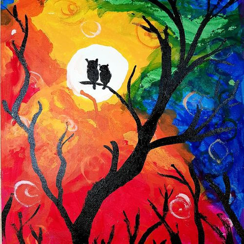 hoot hoot, 16 x 20 inch, rishaan patil,16x20inch,canvas,paintings,wildlife paintings,nature paintings | scenery paintings,animal paintings,children paintings,kids paintings,acrylic color,GAL01590426600