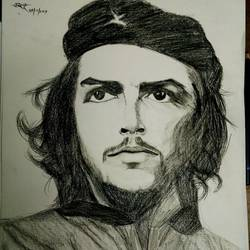che guvera, 13 x 15 inch, sagar jakz,13x15inch,thick paper,drawings,portrait drawings,paintings for living room,charcoal,GAL0457026609