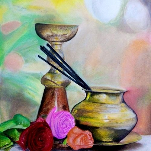 devotion, 14 x 21 inch, samiksha  singh,paintings for bedroom,religious paintings,paper,pastel color,14x21inch,GAL010512661