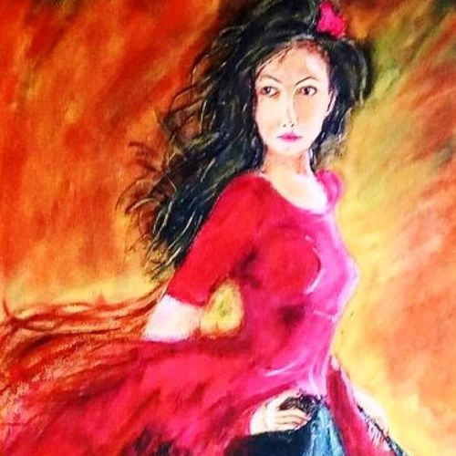 lady in the red, 13 x 15 inch, sagar jakz,13x15inch,canvas board,paintings,photorealism,portraiture,contemporary paintings,paintings for living room,paintings for office,paintings for hotel,acrylic color,GAL0457026610