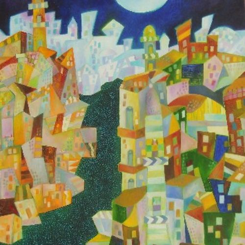 city at night, 30 x 35 inch, chaitali chatterjee,30x35inch,canvas,paintings,cityscape paintings,cubism paintings,contemporary paintings,paintings for dining room,paintings for living room,paintings for office,paintings for hotel,paintings for school,paintings for hospital,oil color,GAL01566226616