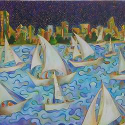 boating, 36 x 32 inch, chaitali chatterjee,36x32inch,canvas,paintings,landscape paintings,nature paintings | scenery paintings,impressionist paintings,paintings for dining room,paintings for living room,paintings for office,paintings for kids room,paintings for hotel,paintings for school,paintings for hospital,oil color,GAL01566226620
