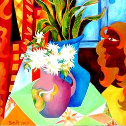 by the window, 30 x 35 inch, chaitali chatterjee,30x35inch,canvas,paintings,figurative paintings,flower paintings,still life paintings,contemporary paintings,paintings for dining room,paintings for living room,paintings for office,paintings for hotel,paintings for kitchen,paintings for school,paintings for hospital,oil color,GAL01566226622