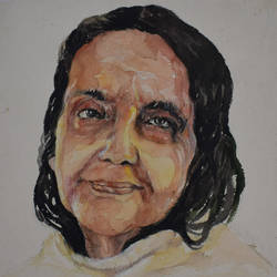 anandamayee ma, 10 x 10 inch, subir bardhan,10x10inch,ivory sheet,paintings,religious paintings,paintings for dining room,paintings for living room,paintings for hotel,paintings for school,paintings for hospital,watercolor,GAL0436926628