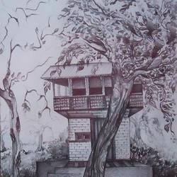 nature- home, 13 x 19 inch, samiksha  singh,landscape paintings,paintings for living room,paper,pencil color,13x19inch,GAL010512663