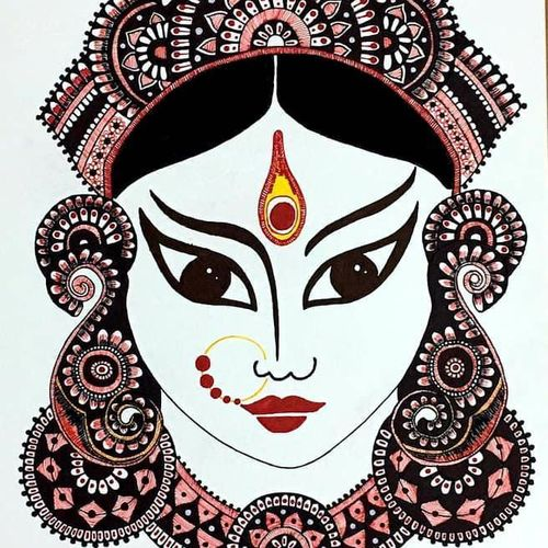 maa durga portrait, 8 x 12 inch, swati gupta,8x12inch,thick paper,religious paintings,portrait paintings,kalamkari painting,paintings for living room,paintings for office,paintings for hotel,paintings for living room,paintings for office,paintings for hotel,paper,GAL01592426630