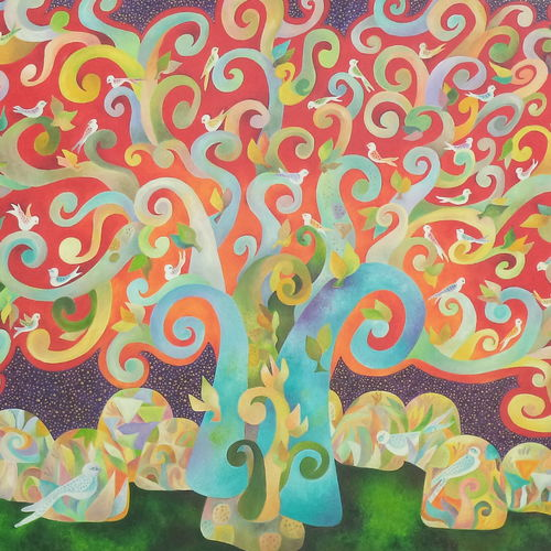 the wishing tree, 36 x 29 inch, chaitali chatterjee,36x29inch,canvas,paintings,landscape paintings,nature paintings | scenery paintings,expressionism paintings,contemporary paintings,paintings for dining room,paintings for living room,paintings for bedroom,paintings for office,paintings for hotel,paintings for school,paintings for hospital,oil color,GAL01566226647