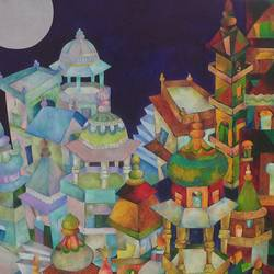 oriental evening, 24 x 36 inch, chaitali chatterjee,24x36inch,canvas,paintings,cityscape paintings,conceptual paintings,nature paintings | scenery paintings,contemporary paintings,paintings for dining room,paintings for living room,paintings for bedroom,paintings for office,paintings for hotel,paintings for school,paintings for hospital,oil color,GAL01566226651